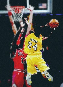 Kobe Bryant goes up for shot against Bulls.