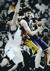 Pau Gasol battles down low against Timberwolves.