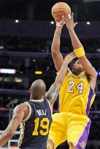 Kobe Bryant puts up a jumper for two against Jazz.