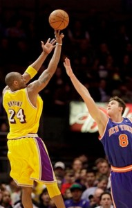 Kobe Bryant pours in two of his 33 against the Knicks.