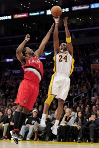 Kobe Bryant shoots jumper against Portland.
