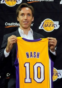 Steve Nash with his new #10 Lakers jersey.