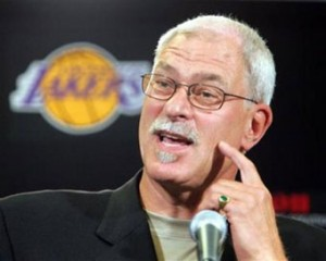 Phil Jackson speaking at a Lakers press conference.